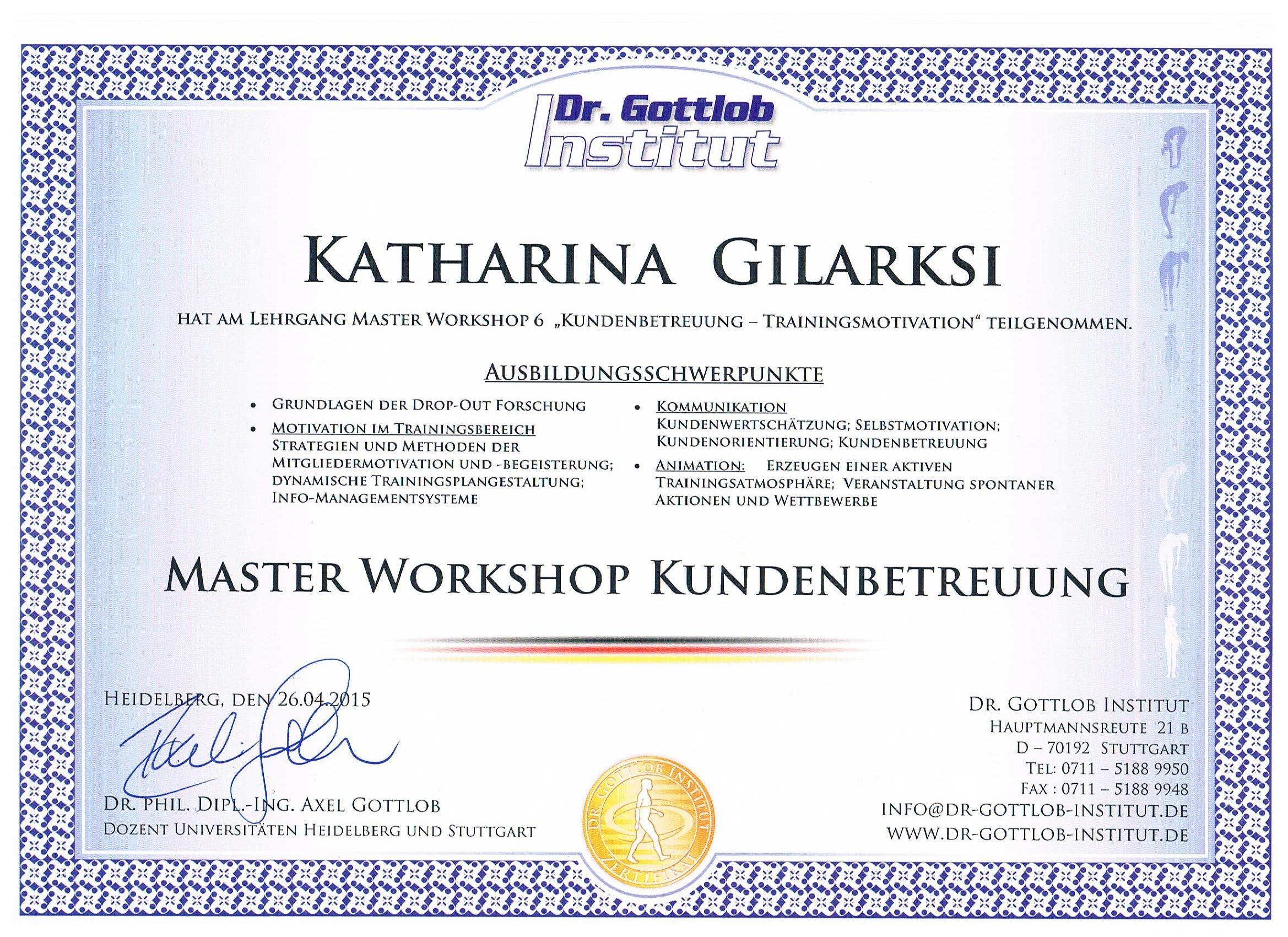 Zertifikat Trainer A-Lizenz Dr. Gottlob Institut
